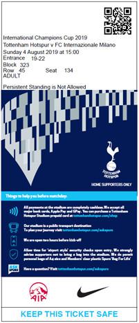 Tottenham Hotspur 2019/20 ticket