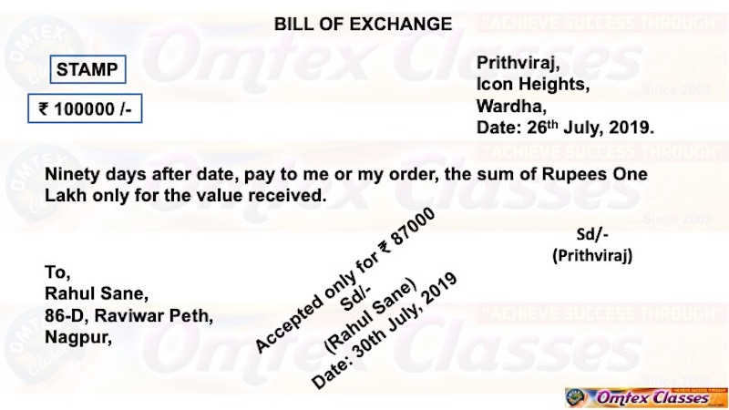 Rahul Sane, 86-D, Raviwar Peth, Nagpur accepted the bill drawn on him by Prithviraj, Icon Heights, Wardha for ₹ 87,000 on 30th July 2019. - Book Keeping and Accountancy