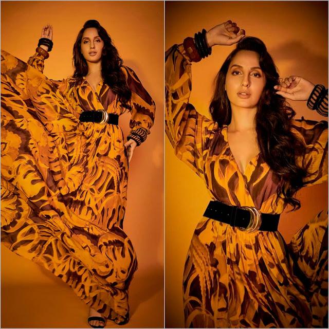 Nora Fatehi Looks Pretty in Roberto Cavalli