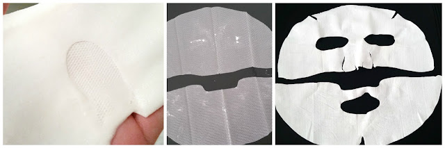 Top part folded mask, mesh protective layer, sheet mask after use.