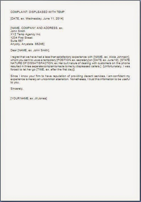 complaint letter for employee poor performance