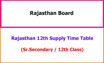 Rajasthan 12th Supply Time Table