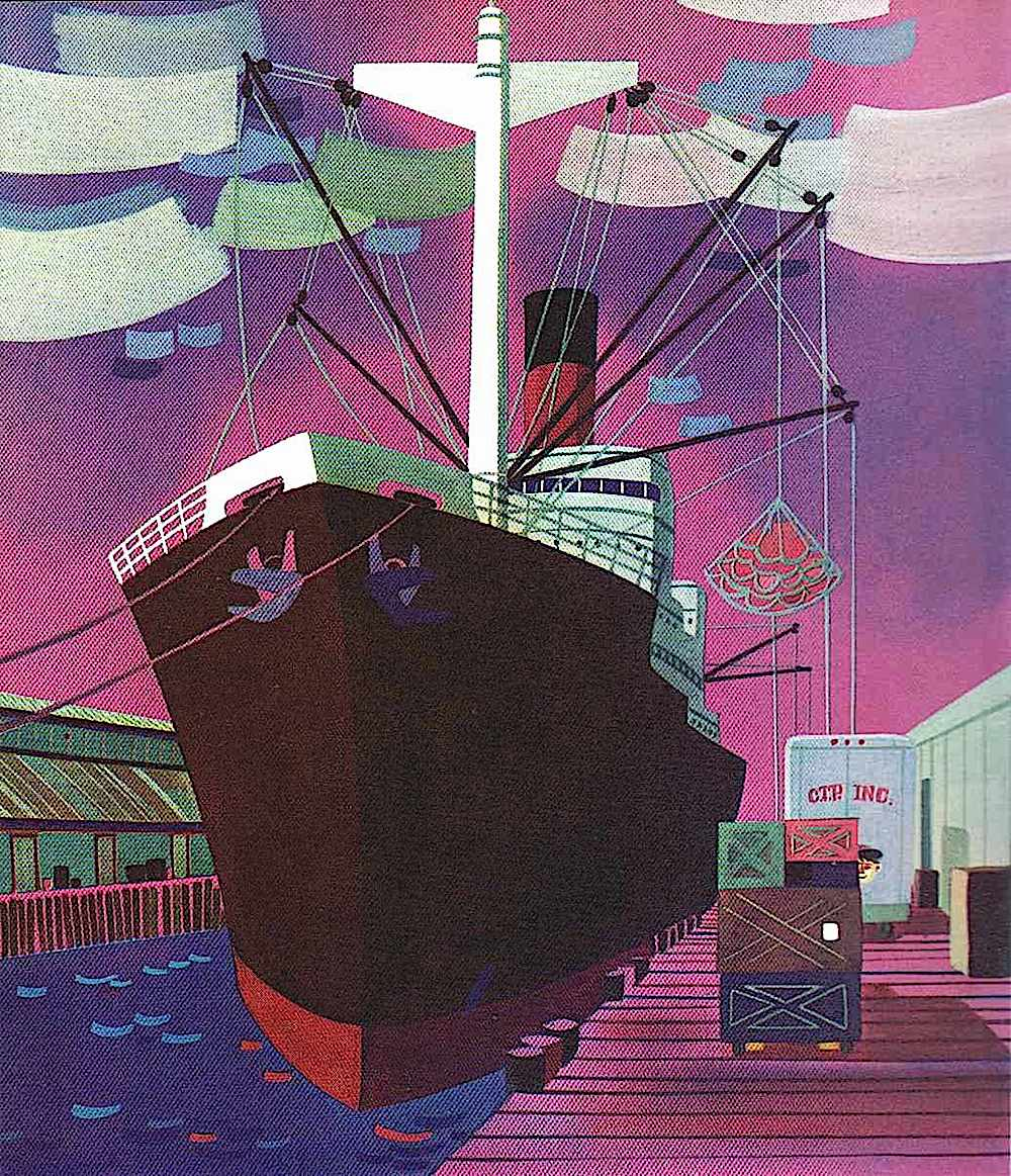 a Merrill Grant children's book illustration of a cargo ship at a dock, in purple