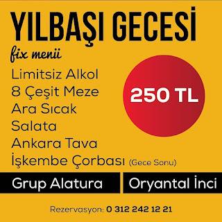 Balat Çayyolu Meyhanesi Ankara Yılbaşı Programı 2020 Menüsü