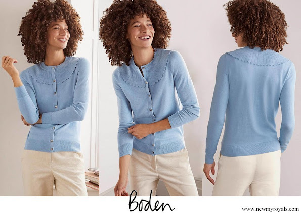 Kate Middleton wore Boden Abercorn Scallop Cardigan Frosted Blue