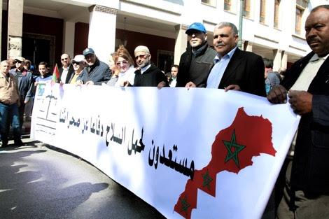 Manifestación del partido nacionalista marroquí Istiqlal