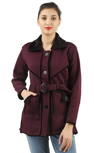 fanideaz Cotton Full Sleeve Casual Jackets for Women Purple