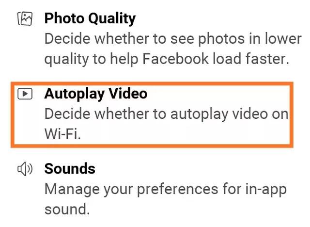 Facebook Stop auto play video