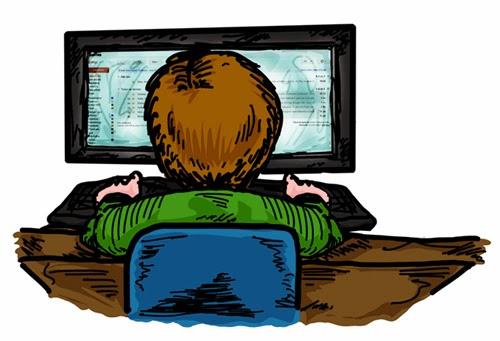 Desenho de um garoto, visto pelas costas, usando o computador.