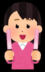 ピンク色のペンライトを持つ人のイラスト(女性)
