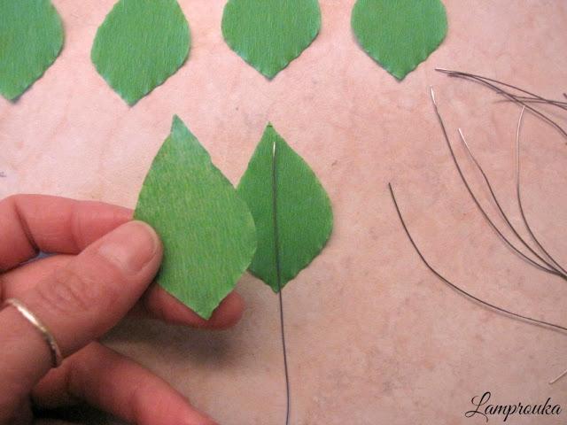 Χάρτινα φύλλα για λουλούδια από χαρτί.