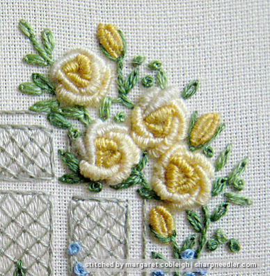 Elizabethan Window (by Roseworks): Bullion roses in yellow