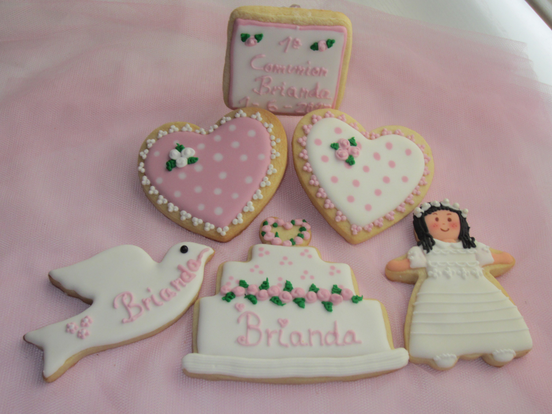 Galletas Decoradas De Comunion Pink Artesanas Galletas Y Tartas Decoradas Comunion De