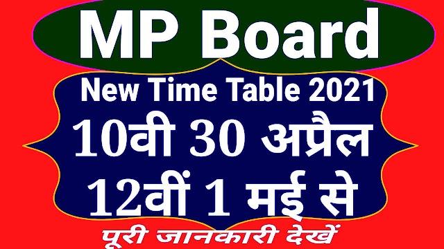 एमपी बोर्ड 10वीं 12वीं का नया टाइम टेबल 2021, दसवीं की परीक्षाएं 30 अप्रैल से और 12वीं की परीक्षाएं 1 मई से