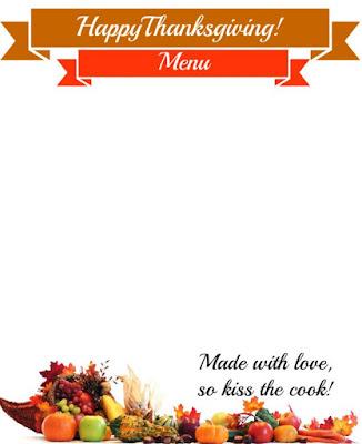 Thanksgiving Menu Printable