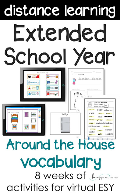 Teaching a distance learning ESY? Teach functional vocabulary that your students need to use in their homes this year!