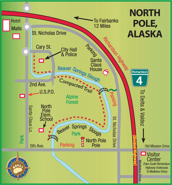 North Pole Alaska Map Maps of Alaska Roads By Bearfoot Guides: Map of North Pole, Alaska