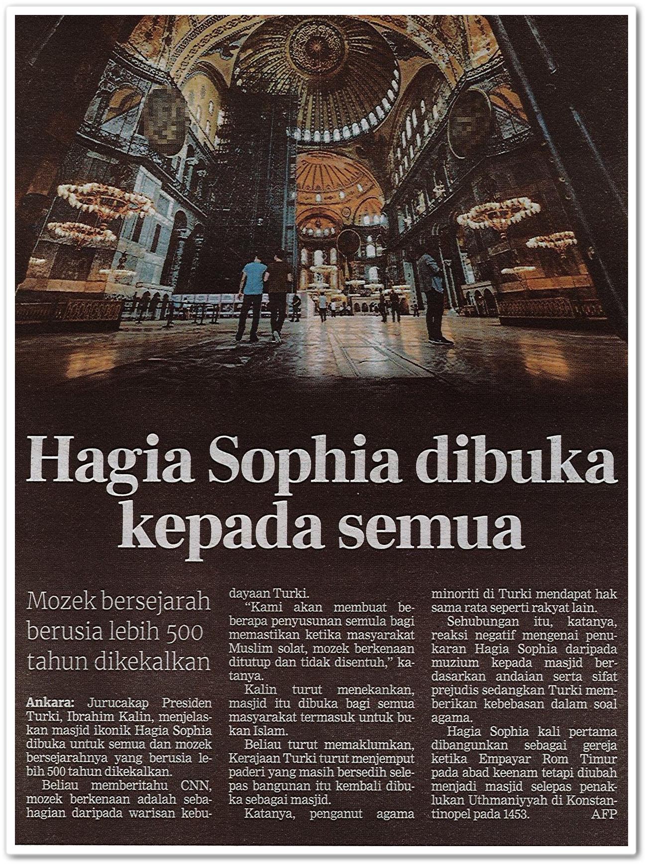 Hagia Sophia dibuka kepada umum - Keratan akhbar Berita Harian 19 Julai 2020