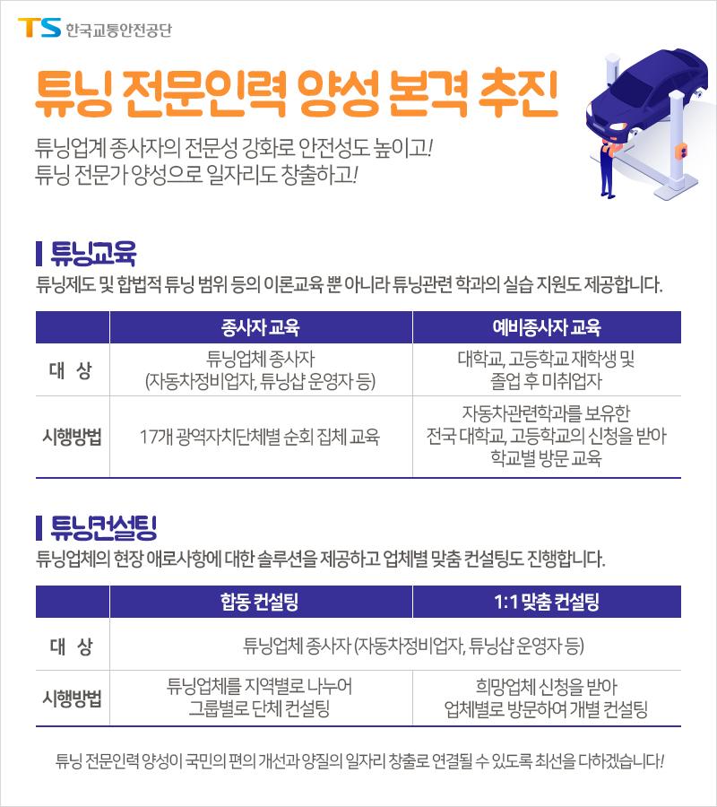 한국교통안전공단, '튜닝 전문인력 양성을 위한 교육 및 컨설팅 사업' 추진