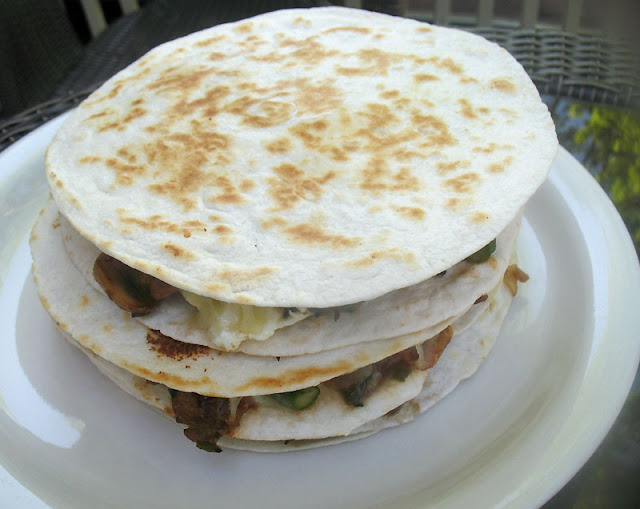 asparagus and mushroom quesadillas