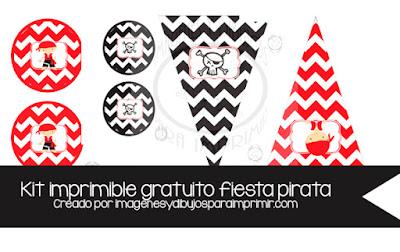 Banderines y decoraciones de guirnaldas piratas para imprimir