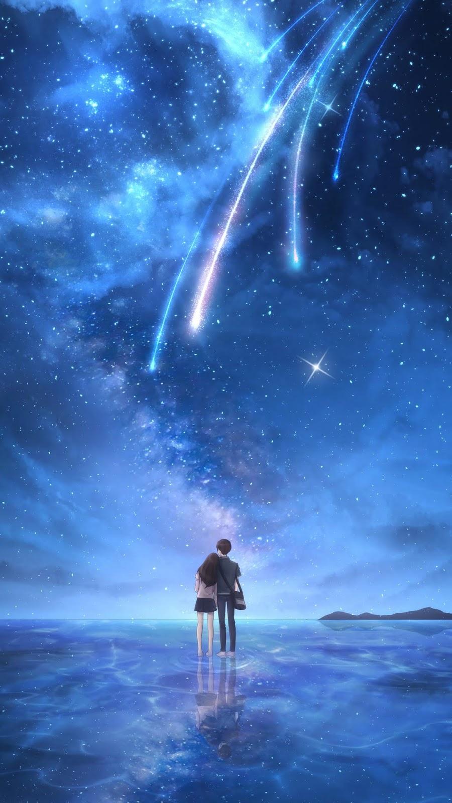 Starfall in the night sky