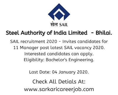 SAIL Recruitment 2020 various post government job vacancies.