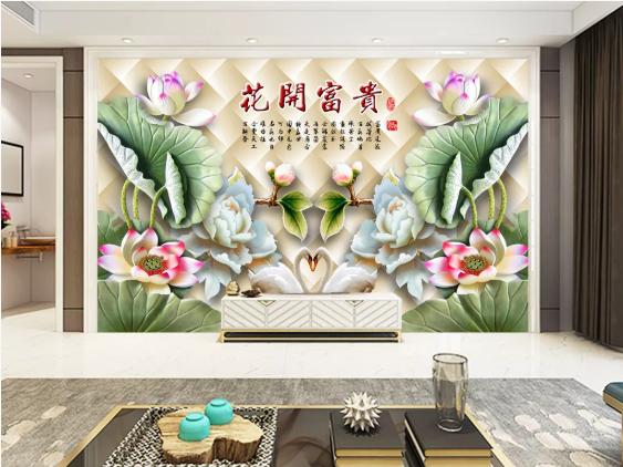 Tranh Dán Tường 3D Hoa Sem Ngọc Bích Đẹp
