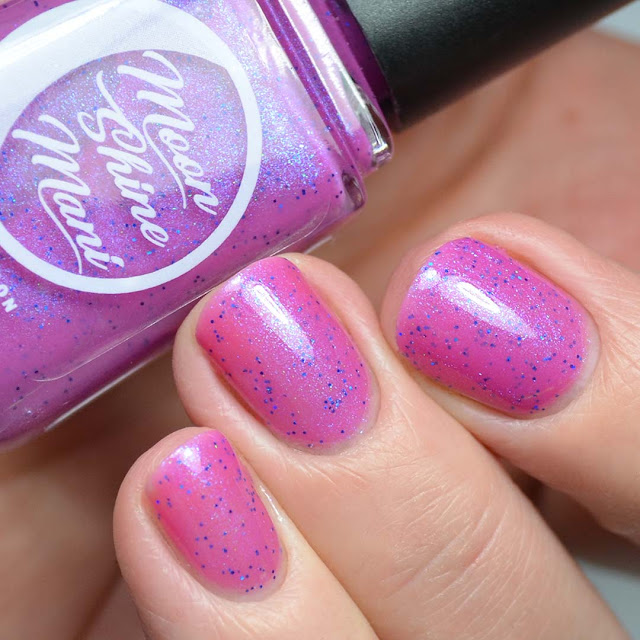 purple shimmer nail polish swatch