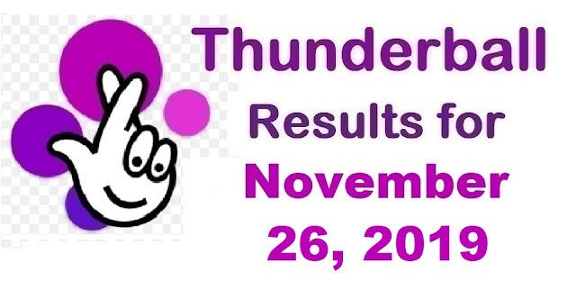Thunderball Results for Tuesday, November 26, 2019