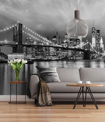 Fotomural Puente Brooklyn en blanco y negro SD934