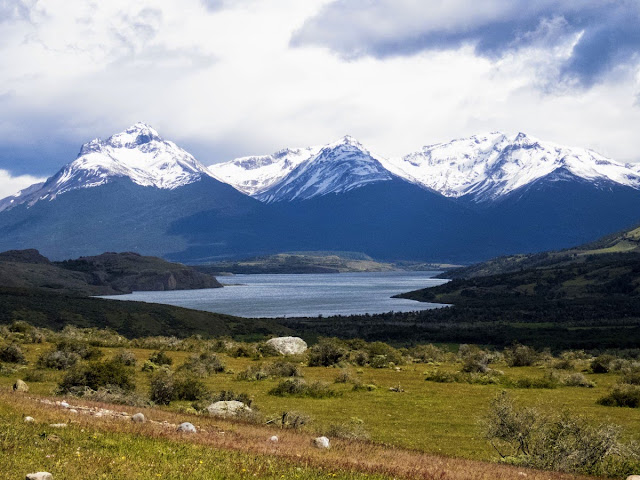 Birding Patagonia: Lago Sofia near Puerto Natales Chile with snow-capped mountains behind