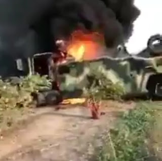 Nigerian Army ambushed by Boko haram, burnt down MRAP, left Soldier's stranded