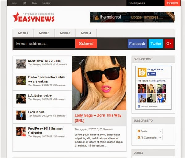 Easy News Blogger Template