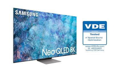 """أجهزة تلفزيون سامسونج  Neo QLED تحصل على شهادة """"تحسين الصوت المكاني"""" من VDE"""