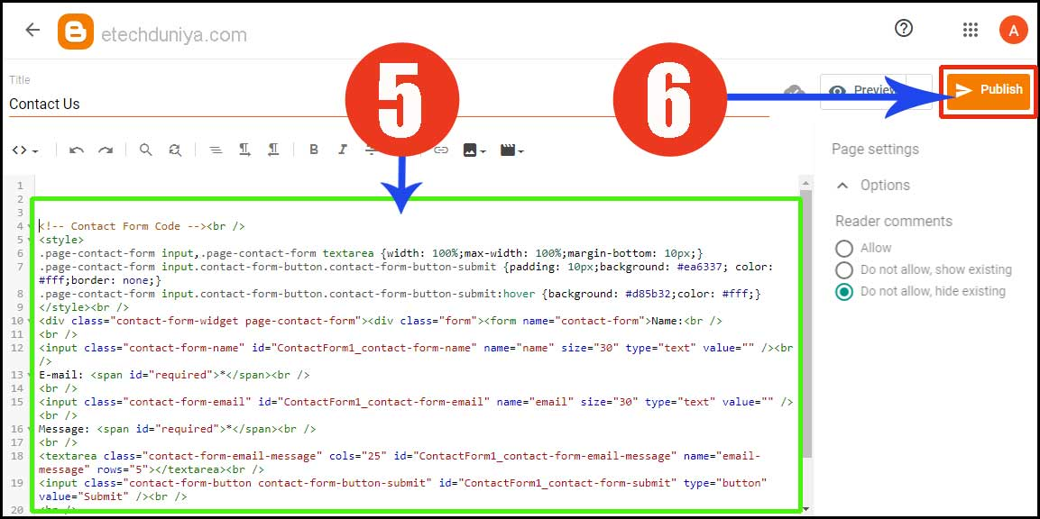 Blogger contact form html code