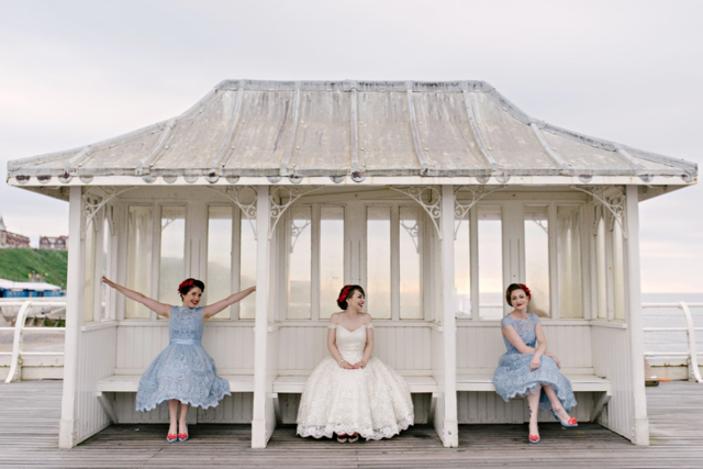 Bride and bridesmaids on Cromer Pier wedding