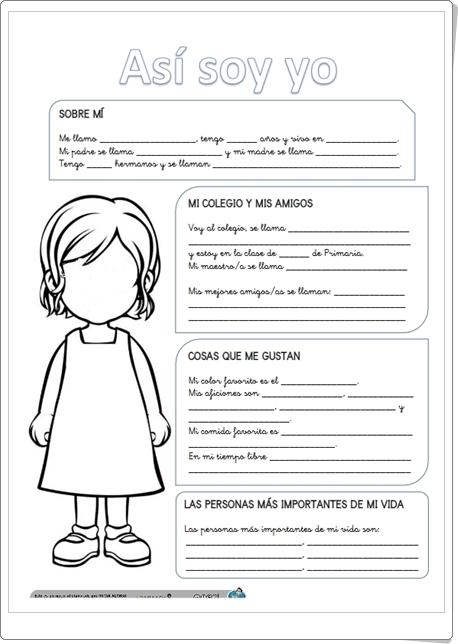"""""""Así soy yo"""" (Fichas de Lengua Española de Primaria)"""