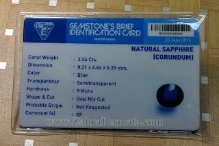 Batu Permata Royal Blue Safir + Memo - ZP 831