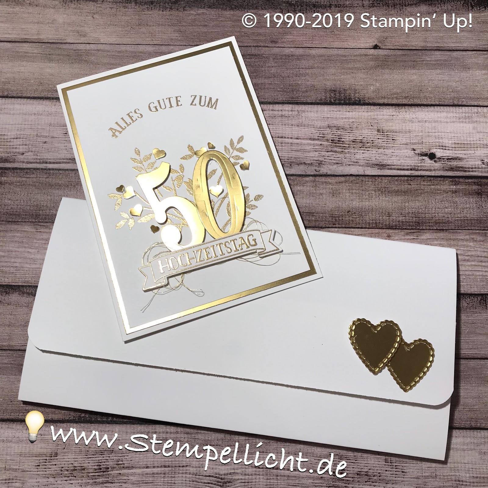 Stempellicht Karte Und Gutscheinkuvert Zur Goldenen Hochzeit
