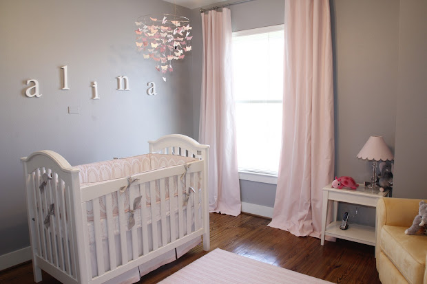 Shary' Alina' Pink And Gray Baby Nursery