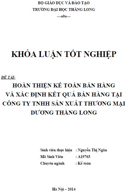 Hoàn thiện kế toán bán hàng và xác định kết quả bán hàng tại Công ty TNHH Sản xuất Thương mại Dương Thăng Long