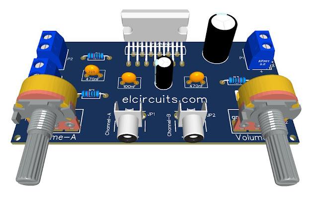 Amplificador de Áudio Automotivo de 14,4 V Estéreo de 80 W - CI TDA8560Q + PCI