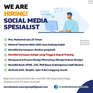 Social Media Specialist di PT Ouzen Anugerah Indonesia