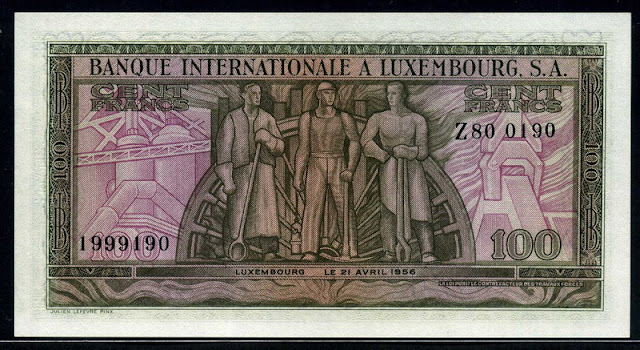 Luxembourg paper money 100 Francs banknote
