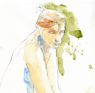 Watercolour life drawing by David Meldrum 20121208