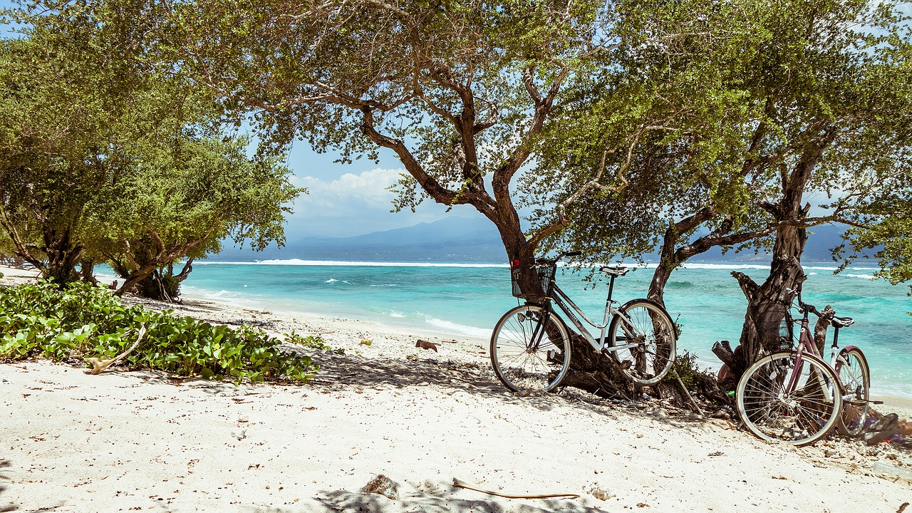 Cycling on Bali beach