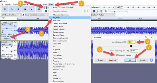 amplificare il volume di una traccia stereo con audacity
