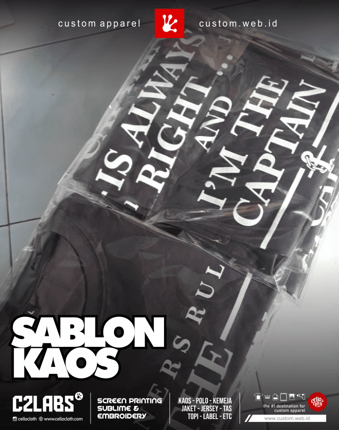 Produksi Sablon Kaos Combed 30s Custom Desain - Sablon Kaos Jogja