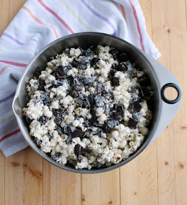 big bowl of cookies and cream popcorn ready to eat